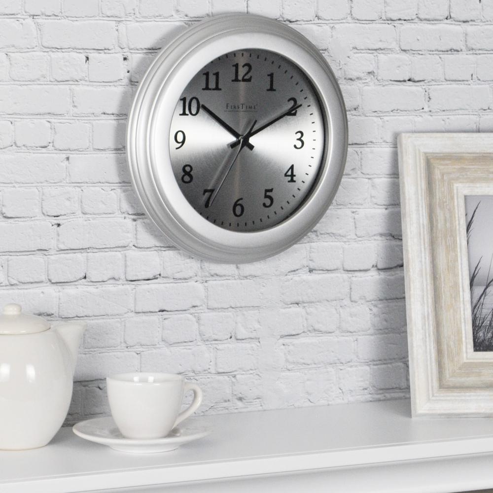 FirsTime 7 in. Round Sleek Steel Wall Clock