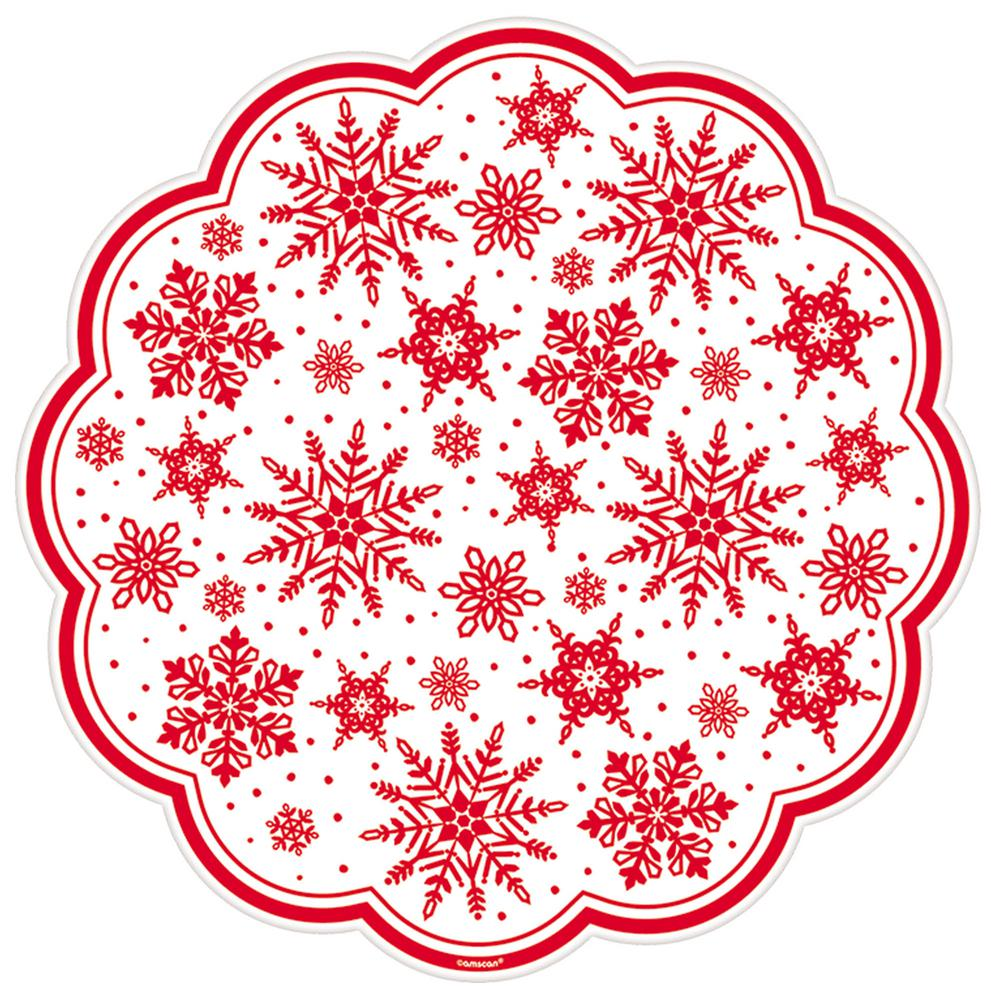 AMSCAN Red Printed Snowflakes 12 in. Paper Doilies (18-Co...