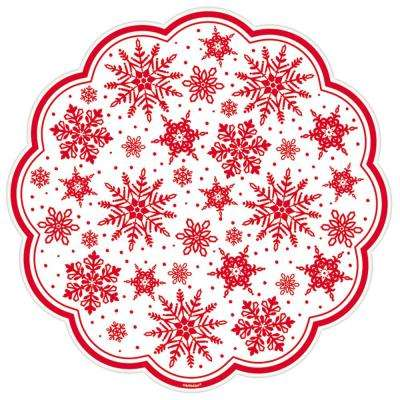 Red Printed Snowflakes 12 in. Paper Doilies (18-Count, 5-Pack)