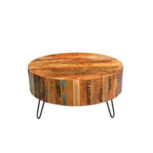 Undefined Tulsa Multi Colored Reclaimed Wood Round Coffee Table With Hairpin Legs