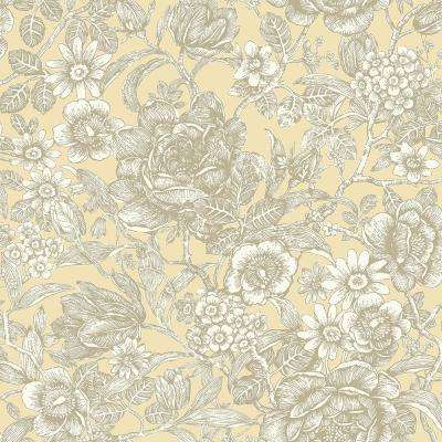 56.4 sq. ft. Hedgerow Light Yellow Floral Trails Wallpaper