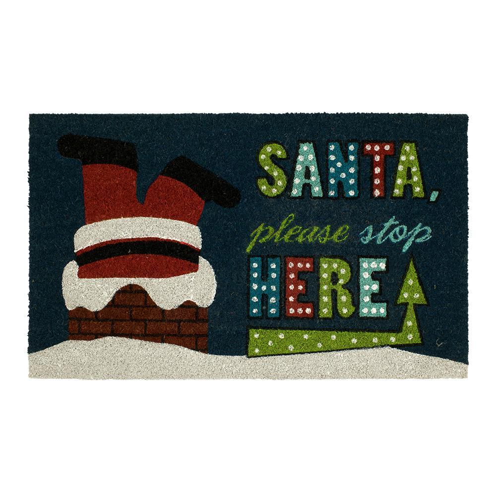 Santa's Stop 18 in. x 30 in. Coir Door Mat