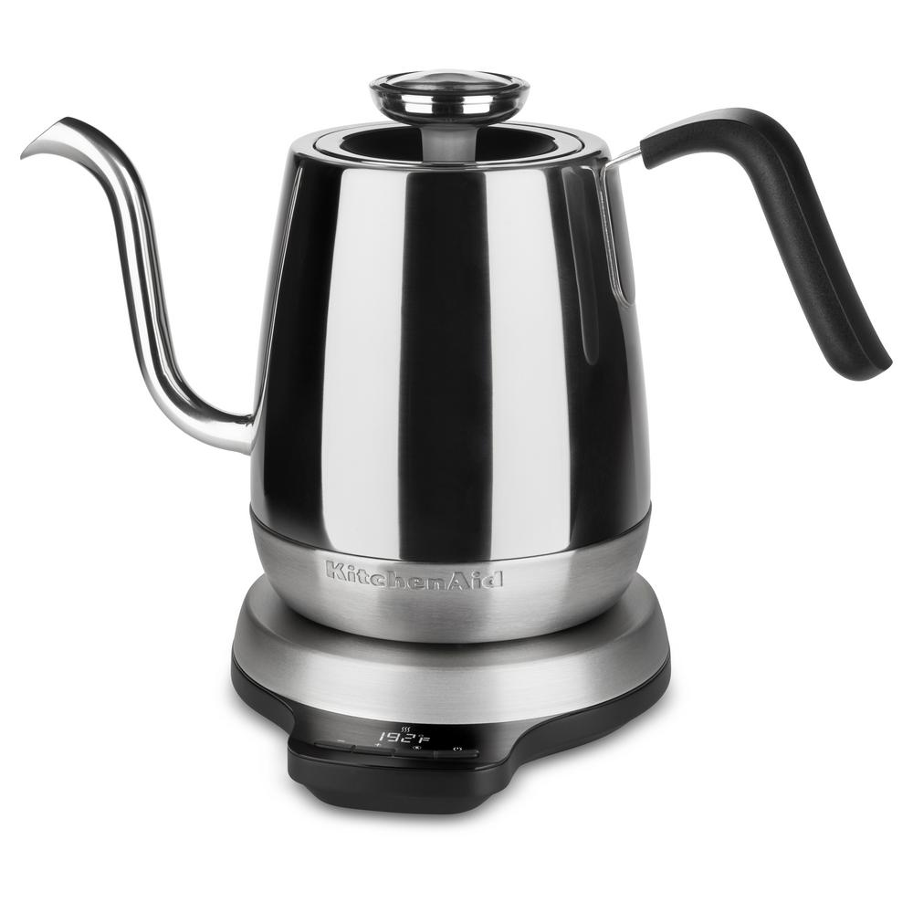 Precision 4.25-Cup Gooseneck Stainless Steel Electric Kettle with Alarm