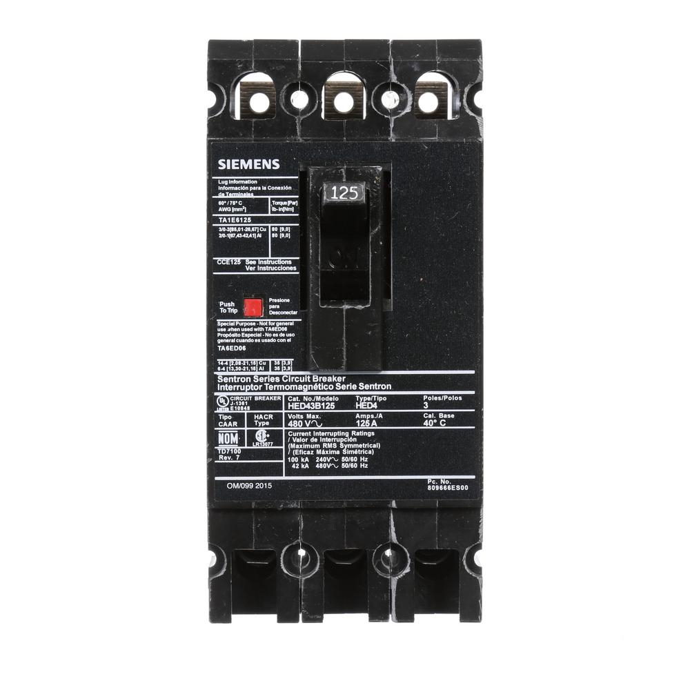 125 Amp 3-Pole Type ED 42 kA Circuit Breaker