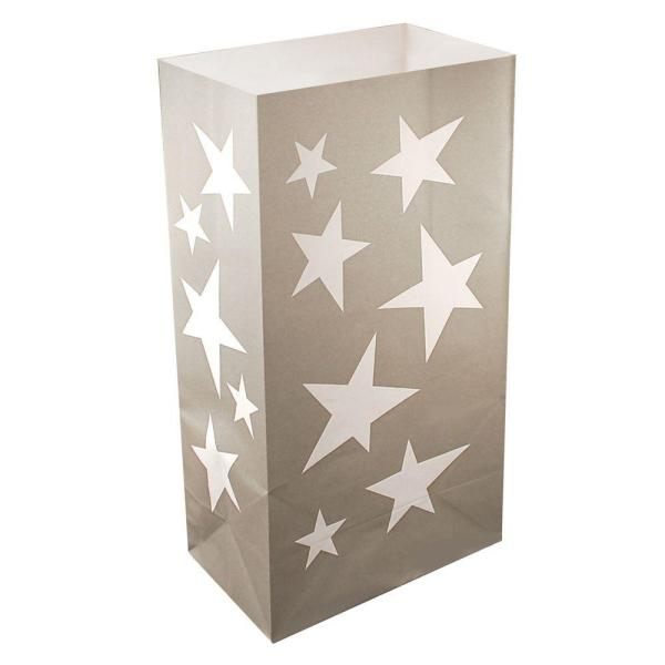 Lumabase 11 in. Silver Stars Luminaria Bags (Count of 24) 49024