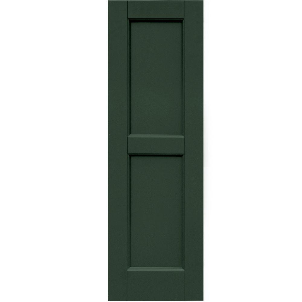 Winworks Wood Composite 12 in. x 38 in. Contemporary Flat Panel Shutters Pair #656 Rookwood Dark Green