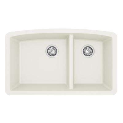 Undermount Quartz Composite 32 in. 60/40 Double Bowl Kitchen Sink in White