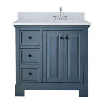 Richmond 36 in. W x 22 in. D Bath Vanity in Gray with Marble Vanity Top in White with White Basin