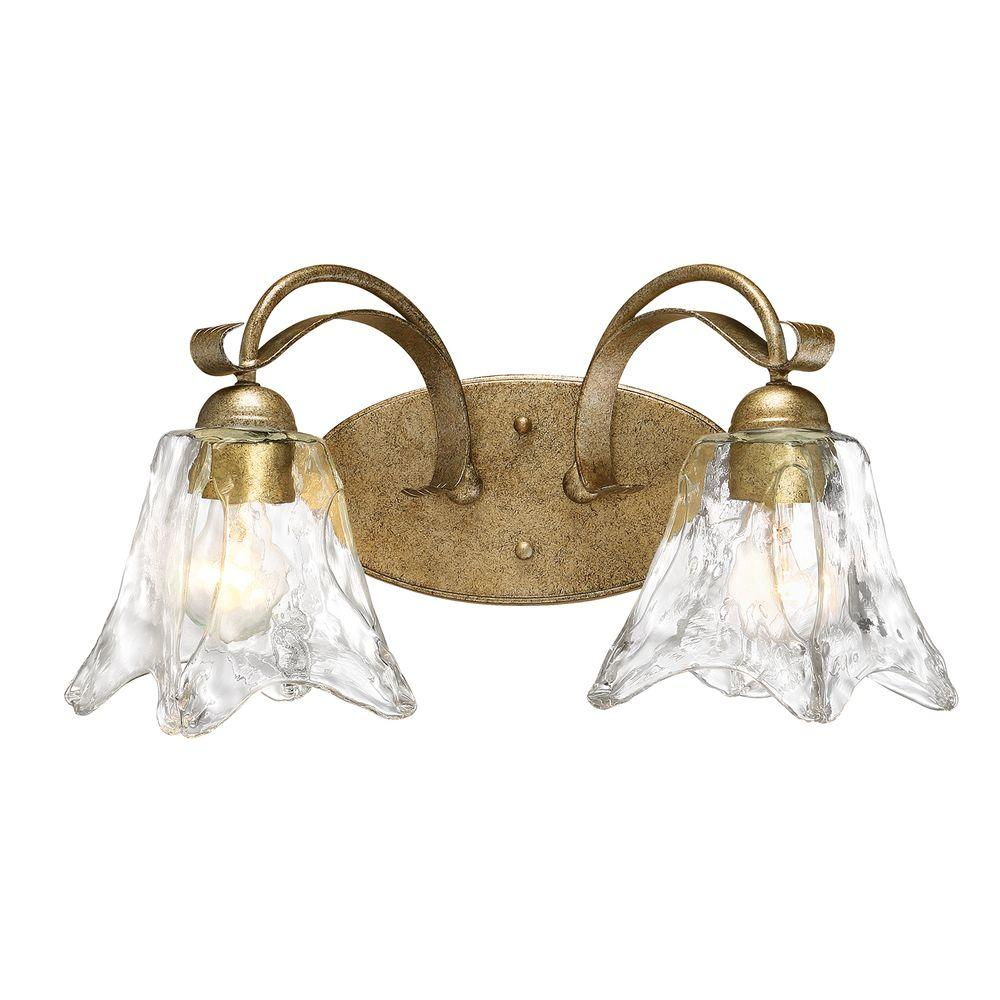 Chatsworth Collection 2 Light Vintage Gold Vanity With Clear Gl