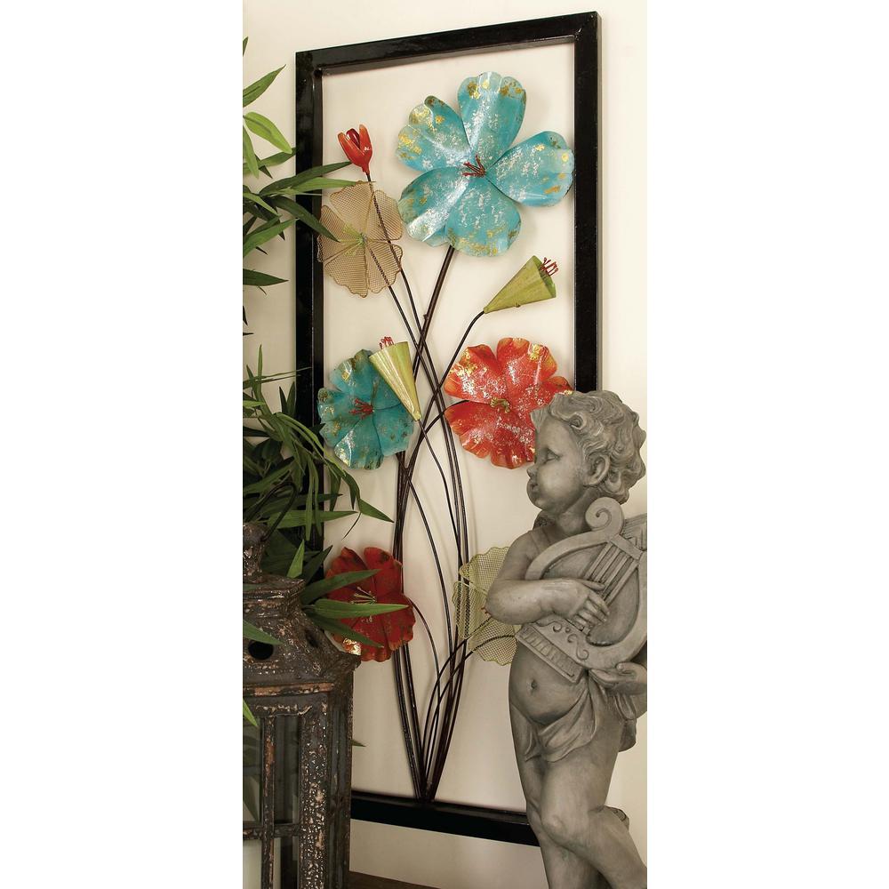 Metal Wall Art Set Of 2 15 Inx 38 Iniron Framed Flower Metal Wall Art Set Of 297194