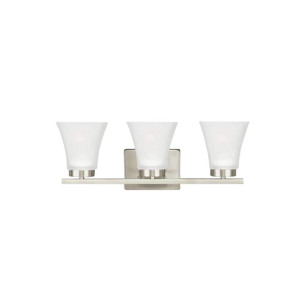 Sea Gull Lighting Bayfield 3-Light Brushed Nickel Bath Light with LED Bulbs