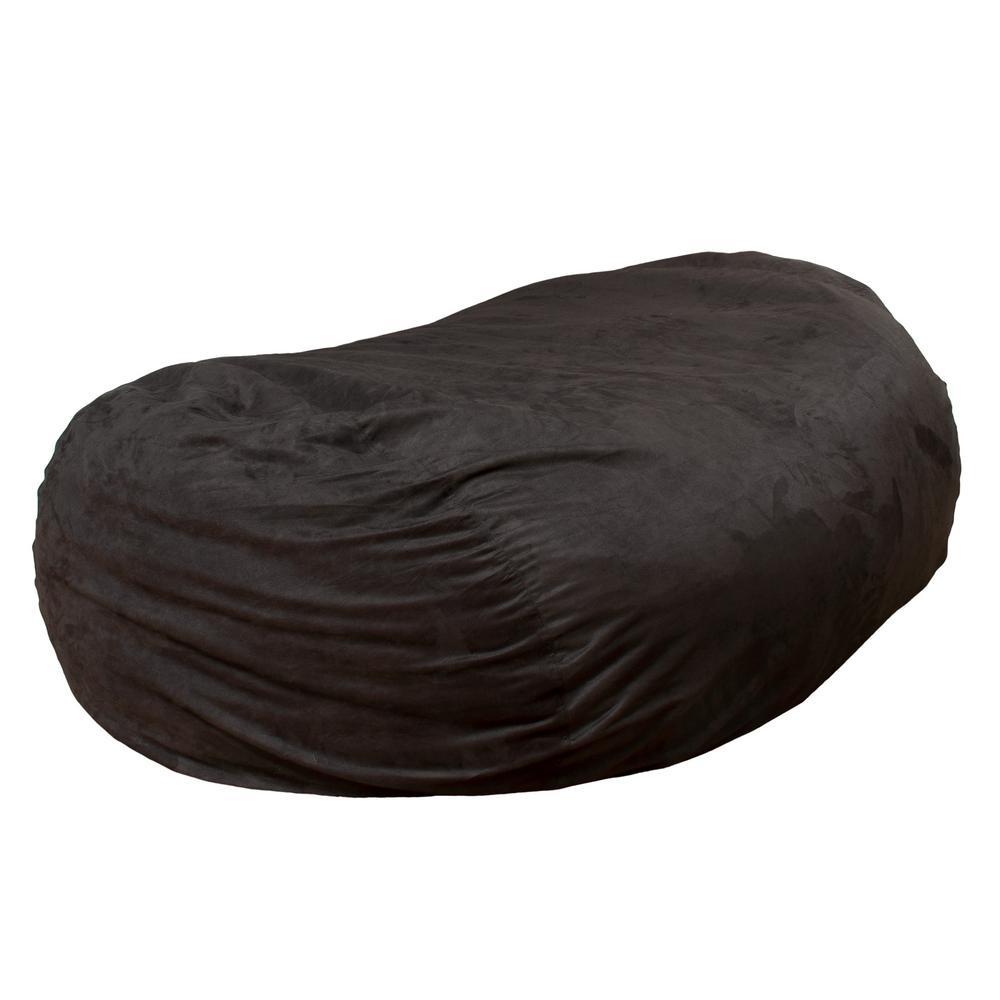 Larson Black Microfiber Synthetic Suede 8-foot Lounger Bean Bag