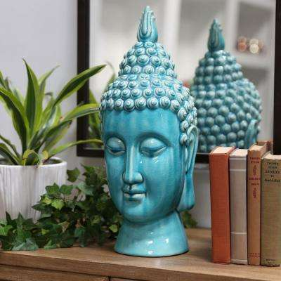 20 in. H Buddha Decorative Sculpture in Turquoise Gloss Finish