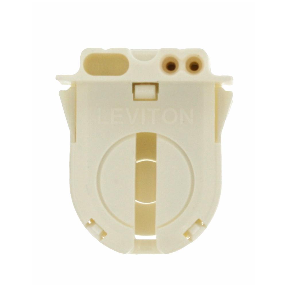 660W Medium Base T-8 Bi-Pin Turn Type Lamp-Lock Snap-In/Slide-On Linear Fluorescent Lampholder, White
