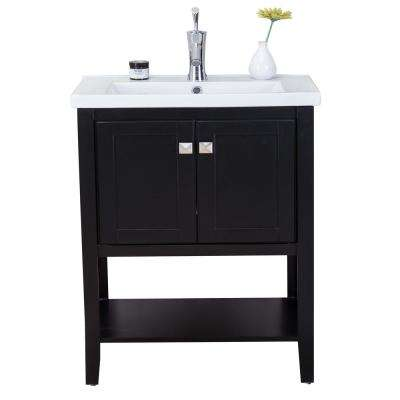 Tiblisi 24 in. W x 18.27 in. D x 34 in. H Vanity in Espresso with Porcelain Top in White with White Basin