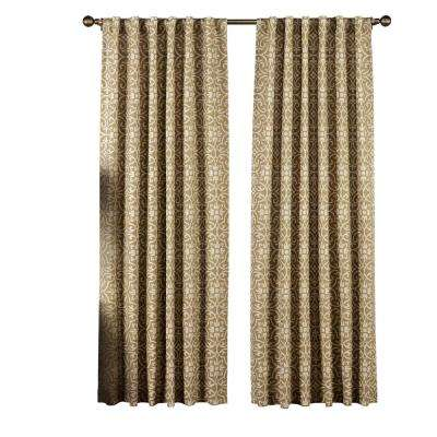 Semi-Opaque Allure Printed Cotton Blend 84 in. L Rod Pocket and Back Tabs Curtain Panel Pair in Taupe (Set of 2)