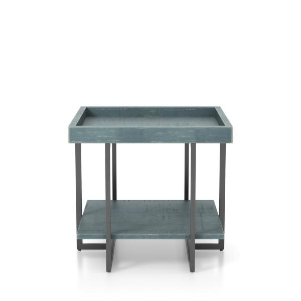 Triblisi 23.25 in. H Blue and Black End Table