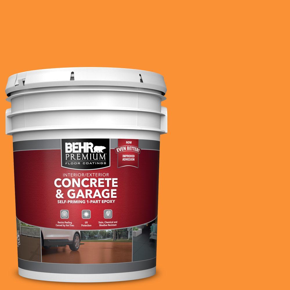 BEHR PREMIUM 5 gal. #P240-7 Joyful Orange Self-Priming 1-Part Epoxy Satin Interior/Exterior Concrete and Garage Floor Paint