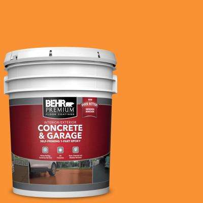 5 gal. #P240-7 Joyful Orange Self-Priming 1-Part Epoxy Satin Interior/Exterior Concrete and Garage Floor Paint