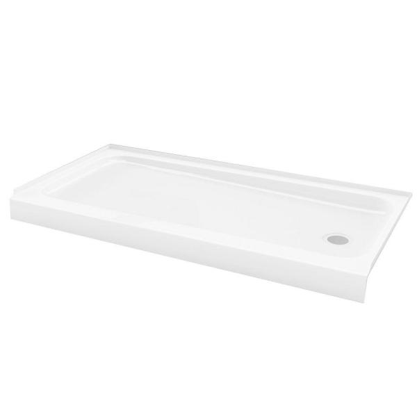 ShowerCast 60 in. x 30 in. Single Threshold Shower Pan in White with Left Drain