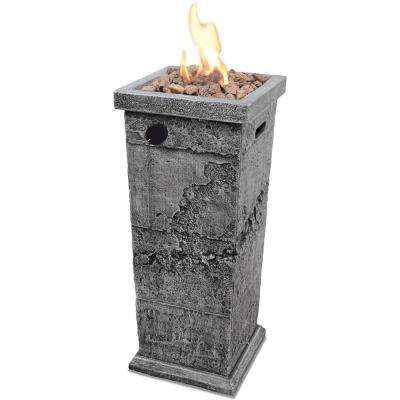 12 in. W x 29 in. H MGO LP Gas Gas Fire Pit Column with Integrated Ignition and Lava Rocks
