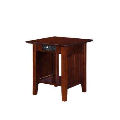 Nantucket Walnut End Table with Charging Station