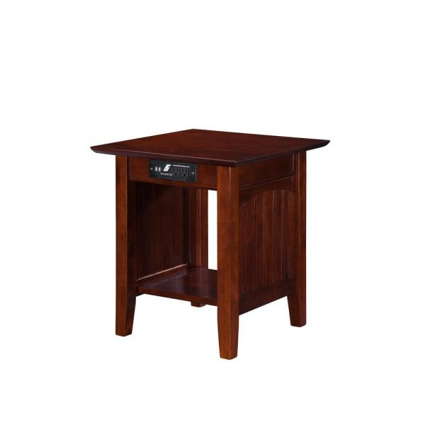 Atlantic Furniture Nantucket Walnut End Table with Charging Station