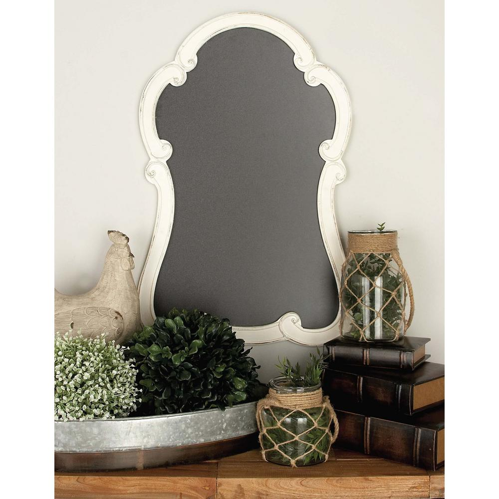 31 in. x 20 in. Distressed White Wooden Chalk Board