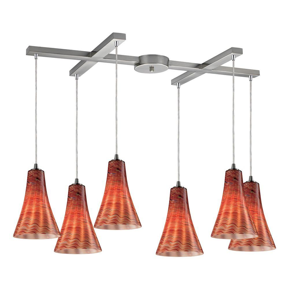 Titan Lighting 6-Light Ceiling Mount Satin Nickel Pendant-DISCONTINUED