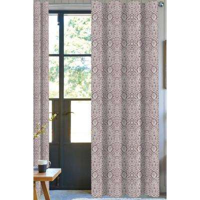 Damask Light Filtering Drapery Panel in Purple - 50 in. x 96 in.