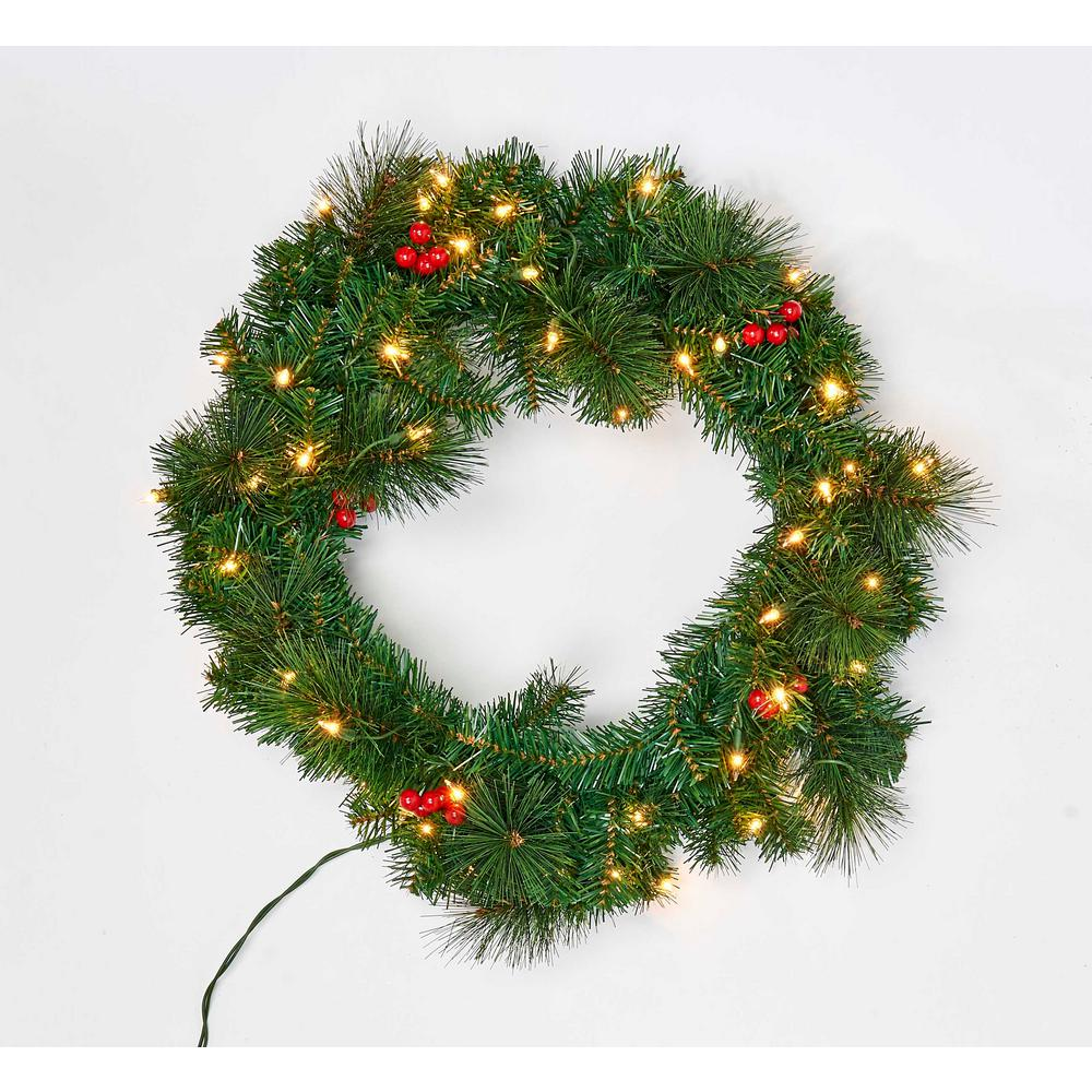 2 ft. Pine Wreath with Lights and Berries