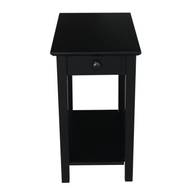 Narrow 25 in. H Black Solid Wood End Table