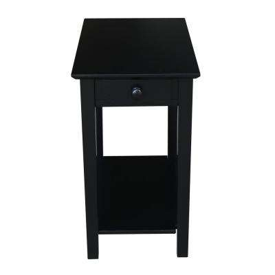 Narrow Black Solid Wood End Table