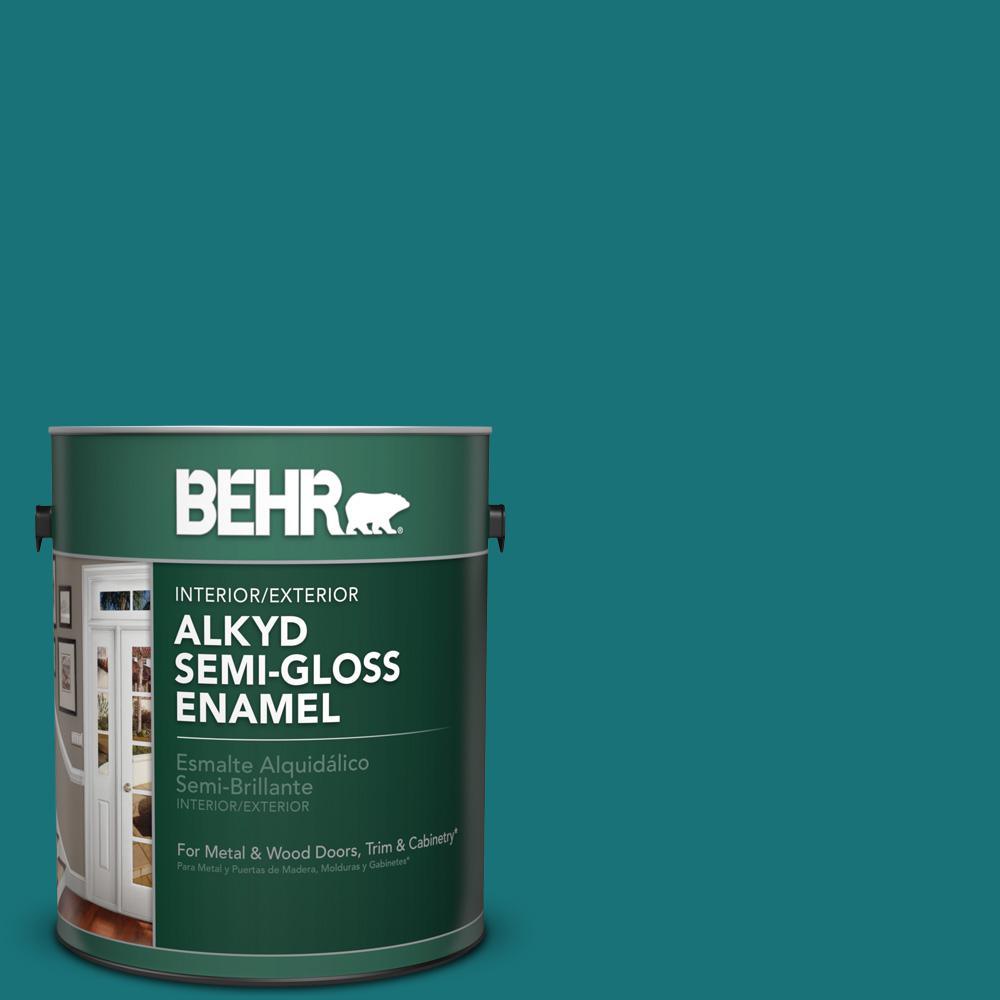 1 gal. #T15-3 Essential Teal Semi-Gloss Enamel Alkyd Interior/Exterior Paint