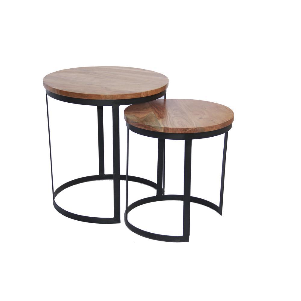 Voguish Wood Natural Finish Round Iron Nesting Table (Set of 2)