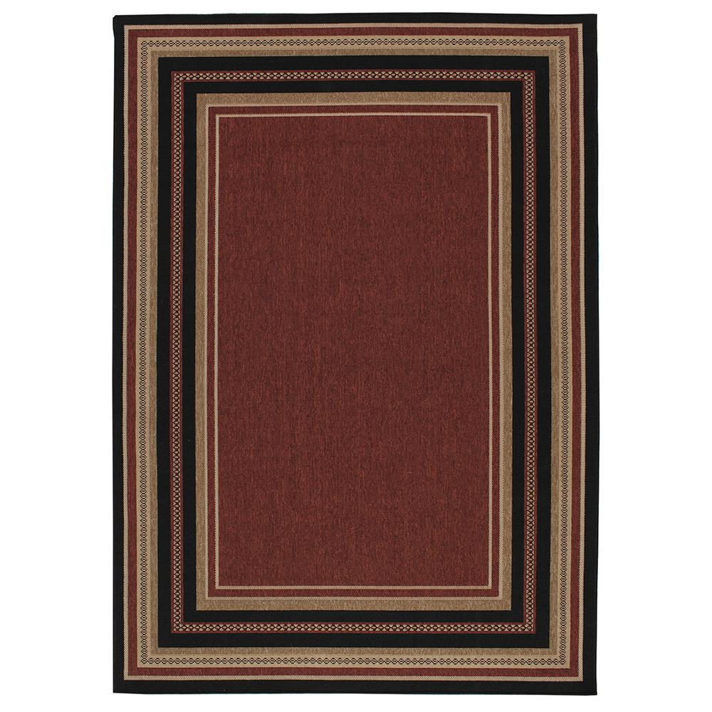 Border Chili Red And Beige 8 Ft X 11 Indoor Outdoor Area