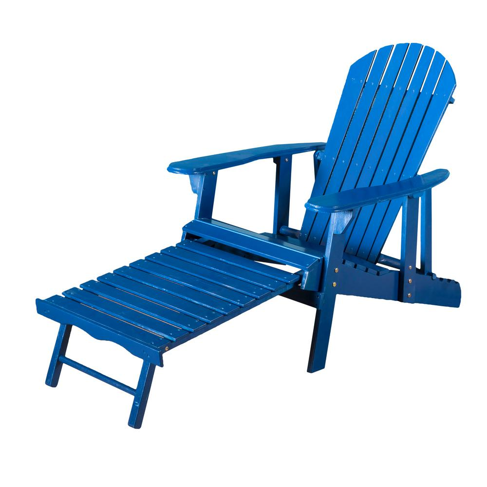 Sensational Noble House Oakley Blue Reclining Wood Adirondack Chair With Footrest Squirreltailoven Fun Painted Chair Ideas Images Squirreltailovenorg