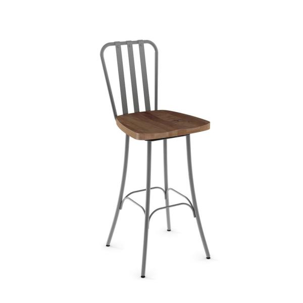 Bond 26 in. Grey Metal Brown Wood Counter Stool 41267-26/2487