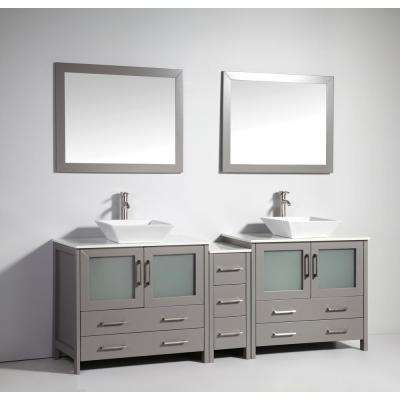 Ravenna 84 in. W x 18.5 in. D x 36 in. H Bathroom Vanity in Grey with Double Basin Top in White Ceramic and Mirrors