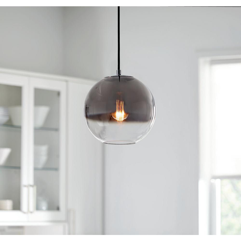 1-Light Ombre Chrome Glass Mini Pendant