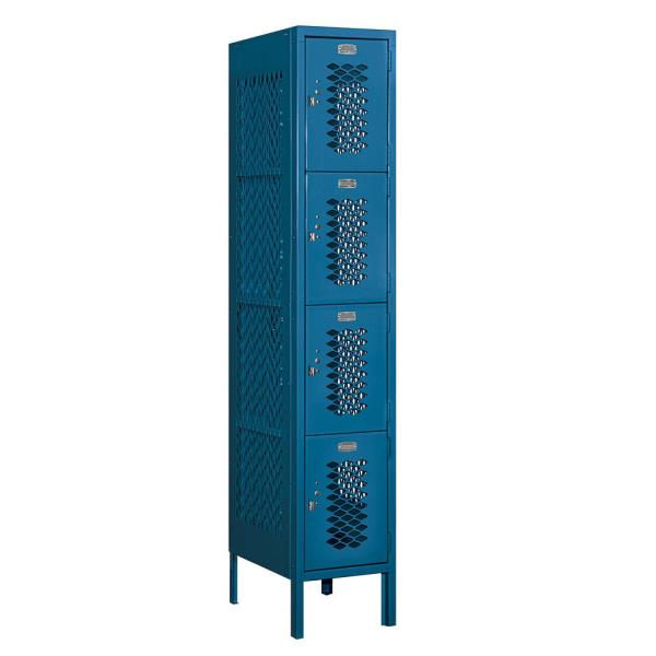 Salsbury Industries 74000 Series 4 Tier 12 In W X 66 In H X 18 In D Vented Metal Locker Assembled In Blue 74158bl A The Home Depot