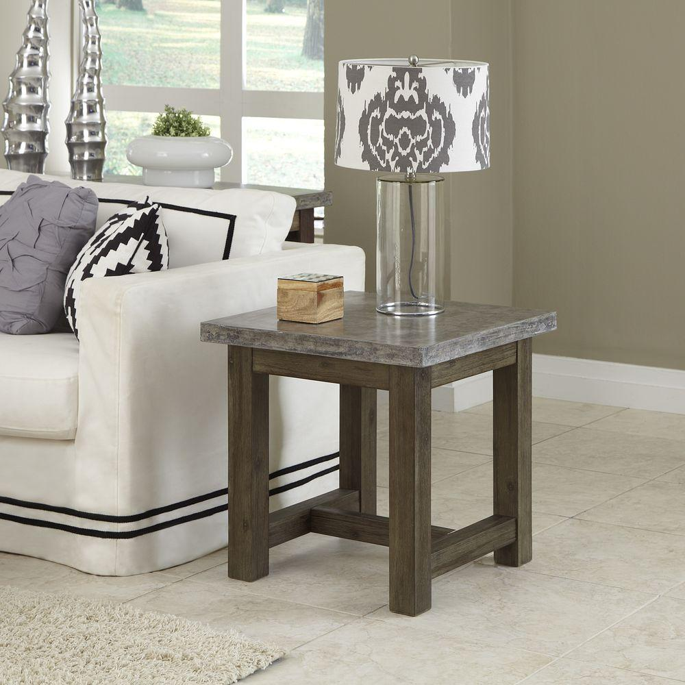Home Styles Concrete Chic Weathered Brown Concrete Top End Table