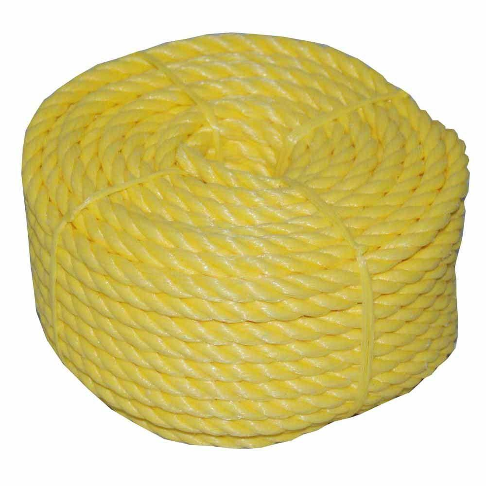 1/4 in. x 100 ft. Twisted Polypro Rope Coilette in Yellow