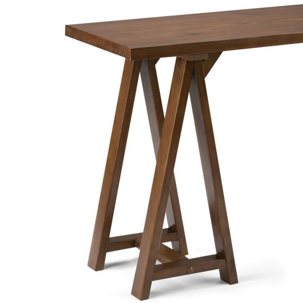 Simpli Home Sawhorse 50 In Medium Saddle Brown Standard Rectangle Wood Console Table 3axcsaw 03 The Home Depot