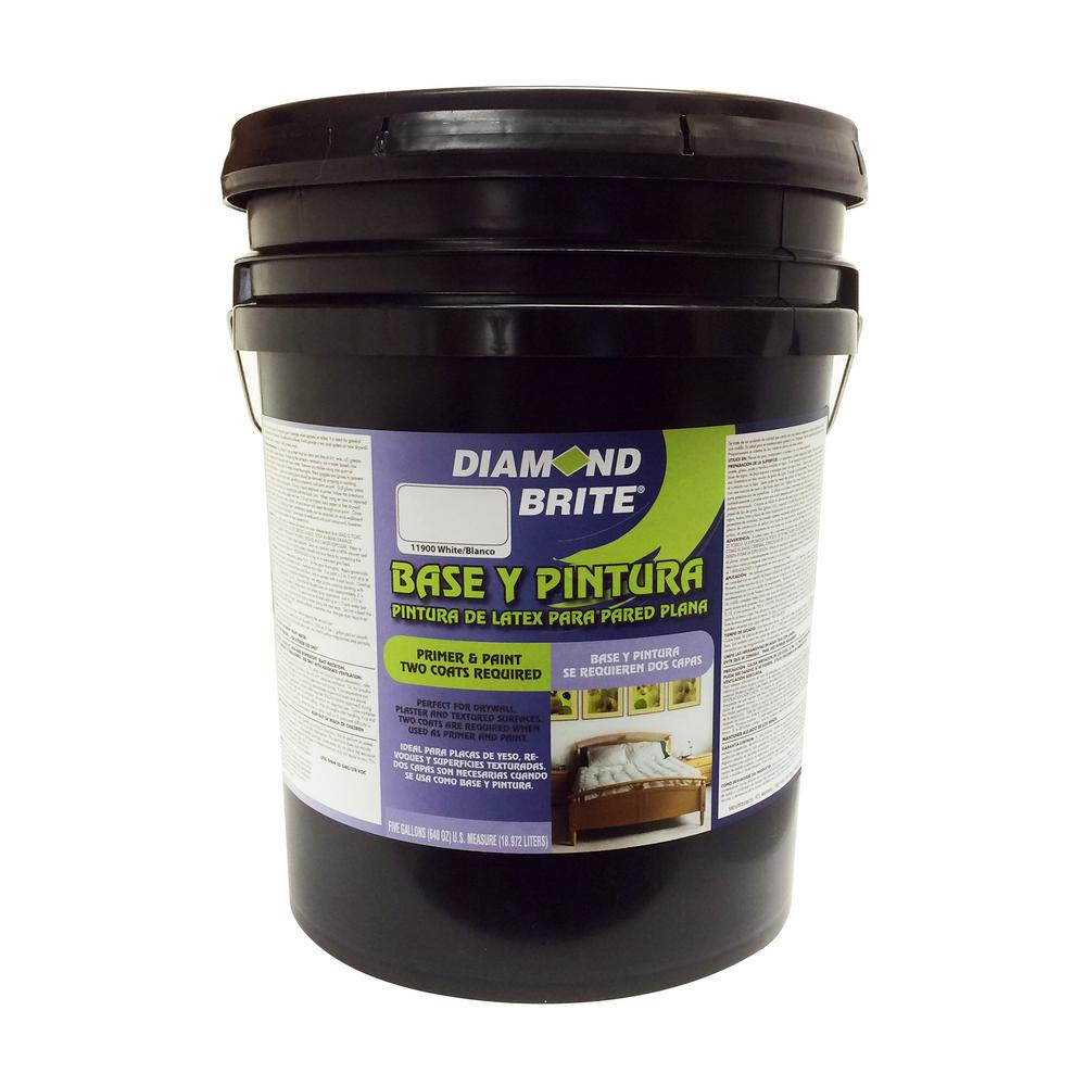 Diamond Brite Paint 5 gal. White Flat Latex Interior Primer and Paint