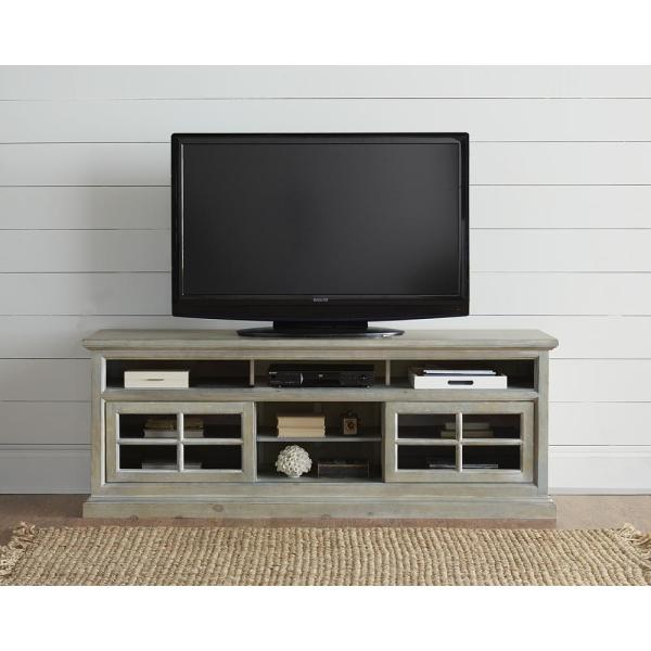 Buckhead 74 in. Antique Mint Wood TV Stand Fits TVs Up to 80 in. with Storage Doors