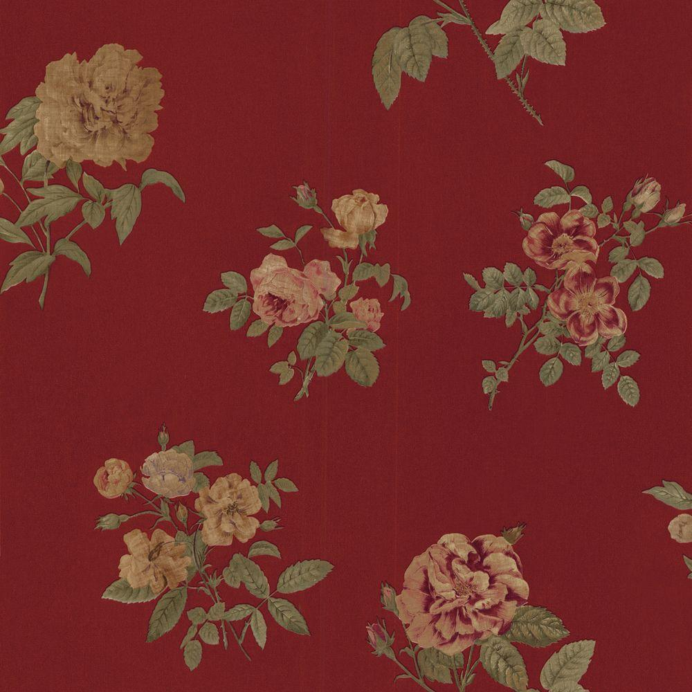 The Wallpaper Company 56 sq. ft. Red Romantic Floral Wallpaper