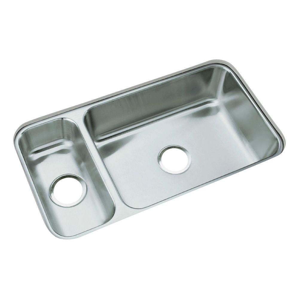 STERLING McAllister Undermount Stainless Steel 32 in. Double Bowl ...
