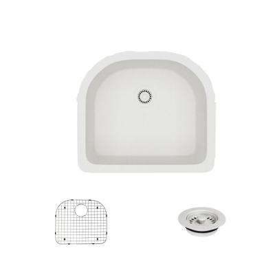Undermount Composite Granite 24-3/4 in. Single Bowl Kitchen Sink in Ivory