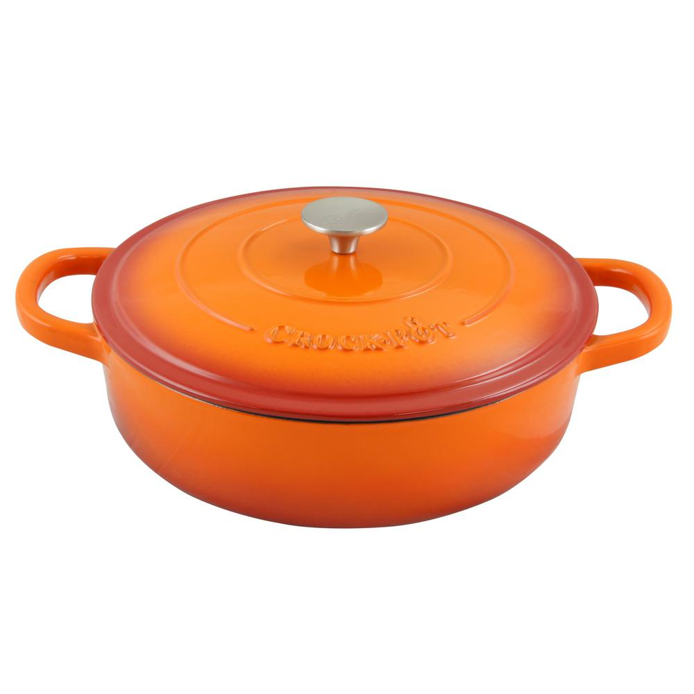 CROCK-POT Artisan 5 Qt. Round Enameled Cast Iron Braiser ...